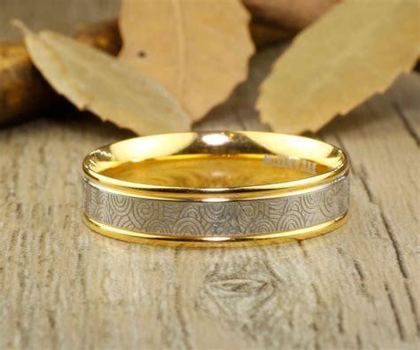 Handmade Gold Wedding Bands, Couple Rings Set, Titanium
