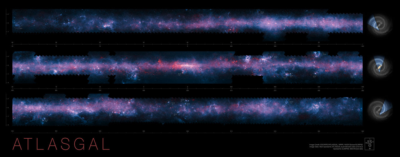 The southern plane of the Milky Way from the ATLASGAL survey (annotated)