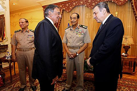 US Secretary of Defense Leon Panetta meets with Egyptian Prime Minister Essam Sharaf and Field Marshal Tantawi. The White House is concerned about developments in the North African state. by Pan-African News Wire File Photos