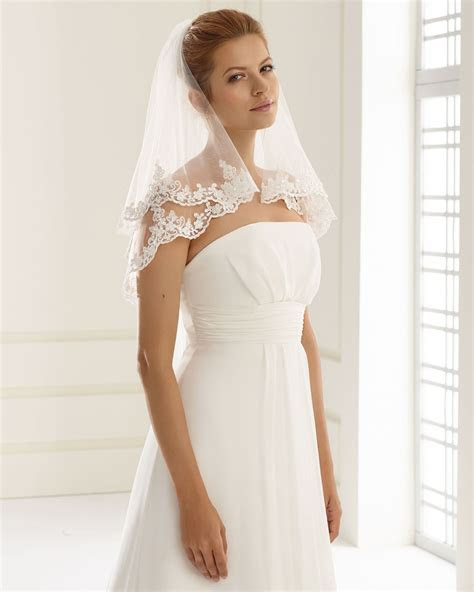 Two Tier Lace Edged Wedding Veil with beading