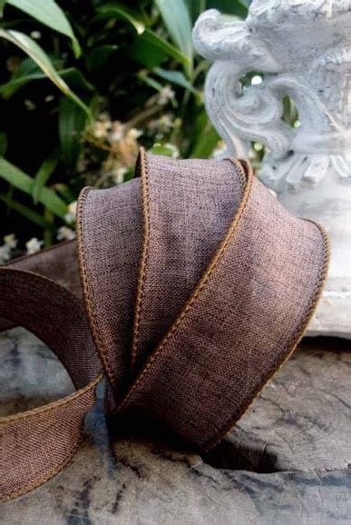 "Brown Linen 1.5"" Wired Ribbon 10 yds"