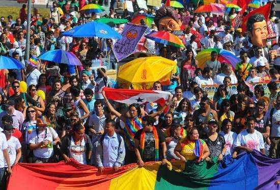Grupo que defende interesses LGBT também participou da marcha (Janine Moraes/CB/D.A Press)