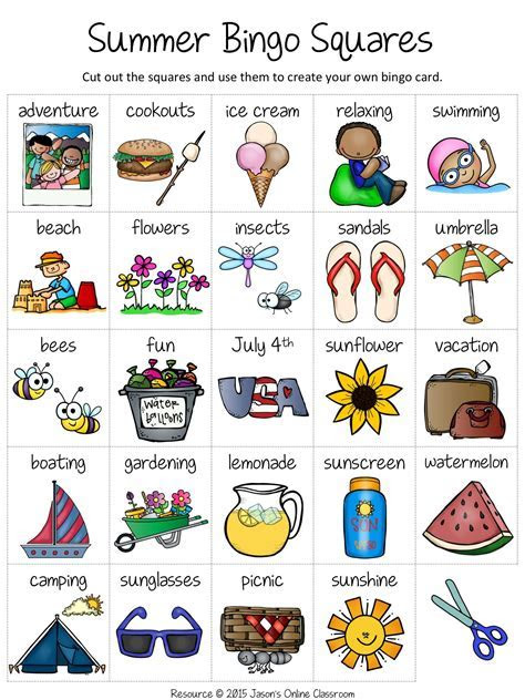 Summer Free Create Your Own Luck Bingo   KindergartenKlub