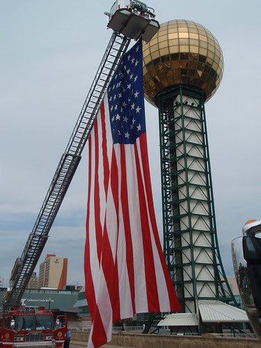 sunsphere with flag