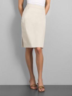 New York & Company Women's City Stretch Zip Pocket Pencil Skirt - Raw Silk