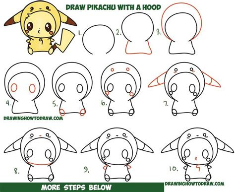draw cute pikachu  costume hood  pokemon