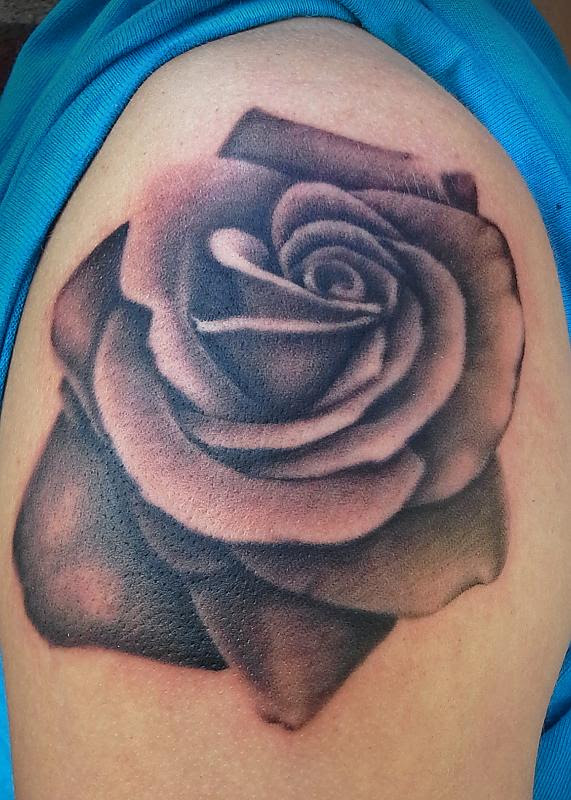 Black And Grey Rose Tattoo Design