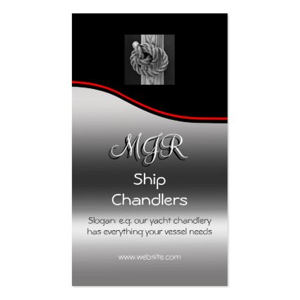 Monogram, Chandlers Rope Knot on Wood, red swoosh Business Card Templates