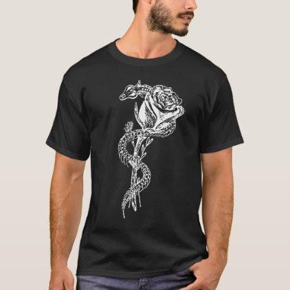 Skeleton Snake and Rose Print T-Shirt