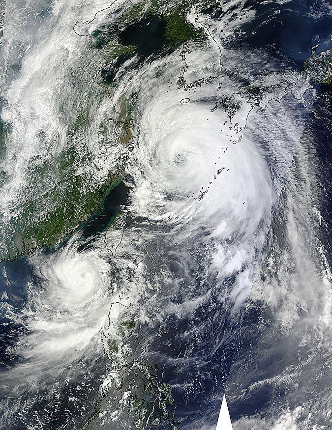 Image of Terra and Aqua/MODIS 2012/240 02:40 UTC Typhoons Tembin (15W) and Bolaven (16W) in the Philippine Sea , Pixel size 4km
