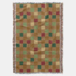 Country Colors and Tan Faux Burlap Checker Pattern Throw