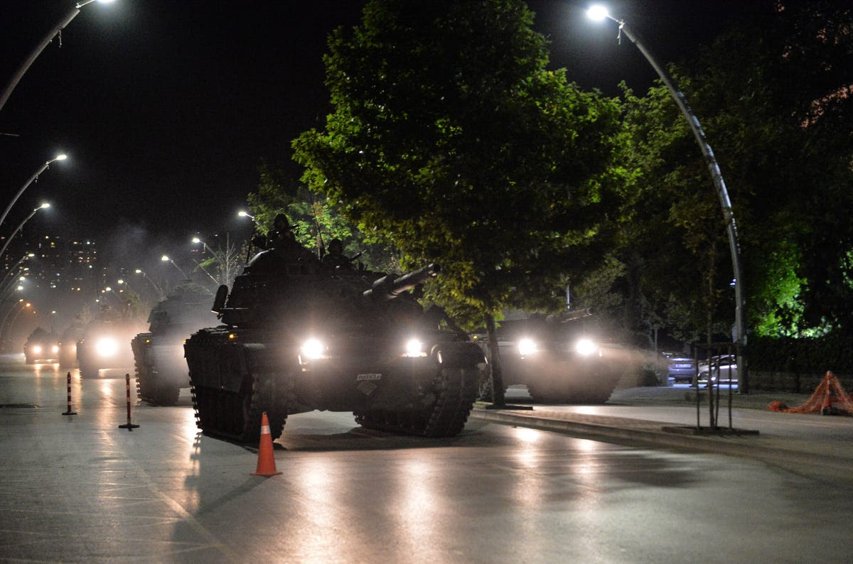 Turkish army tanks move in the main streets in the early morning hours of July 16, 2016 in Ankara.