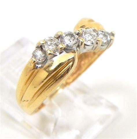 ladies  yellow gold slanted diamonds wedding band