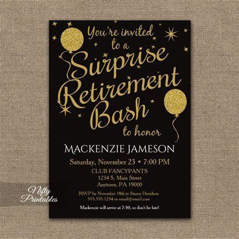 Surprise Retirement Invitation   Black Gold Balloons