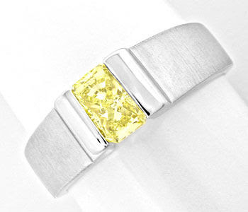 Original-Foto 1, DIAMANT-RING RADIANT 0,71ct ZITRONENGELB HRD LUXUS! NEU