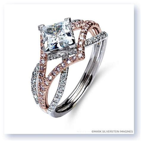 18K White Gold Three Strand Edgy Diamond Engagement Ring