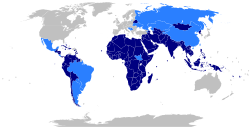 World map with the members and observers of the Non-aligned movement