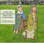 Road to Bethlehem Yard Art Woodworking Pattern - fee plans from WoodworkersWorkshop® Online Store - road to Bethlehem,Joseph,Mary,yard art,painting wood crafts,scrollsawing patterns,drawings,plywood,plywoodworking plans,woodworkers projects,workshop blueprints