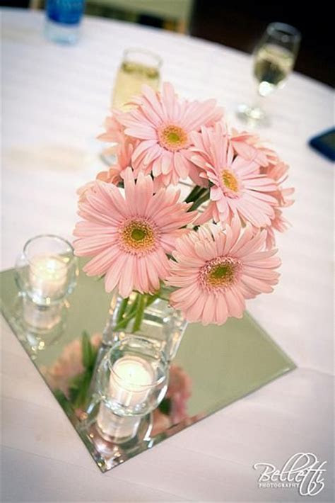 centerpiece featuring gerber daisies   Pink wedding