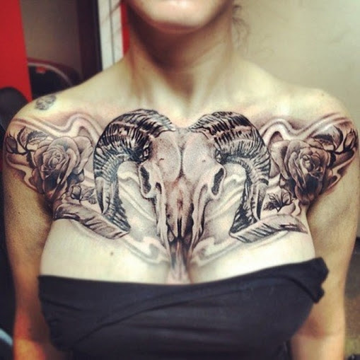 Goat Skull Chest Tattoo For Girls