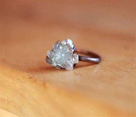 Raw Crystal Ring Celestite Ring Raw Stone Ring Blue