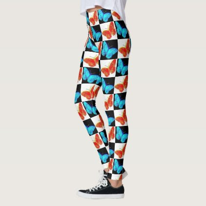 Red White Blue Patriotic Butterfly Leggings | USA