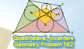Problem 582: Quadrilateral, Diagonals, Incenters, Metric Relations.
