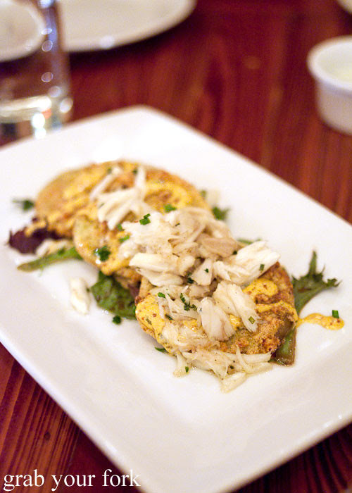 fried green tomatoes with louisiana crab at atchafalaya restaurant new orleans louisian