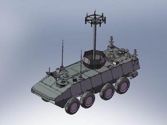 """Предполагаемый внешний вид колесного шасси """"Бумеранг"""" с комплексом РЭБ """"Инфауна"""". Изображение с сайта modellmix.su"""