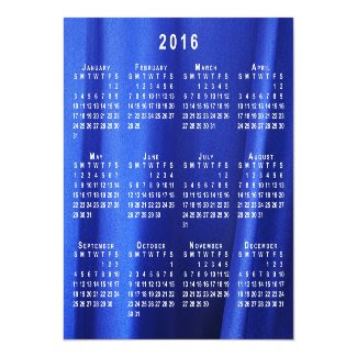 Blue Silk Abstract Photo 2016 Calendar Thin Magnet Magnetic Invitations