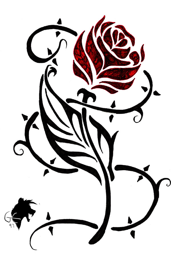 Red Rose Flower And Black Tribal Tattoo Design