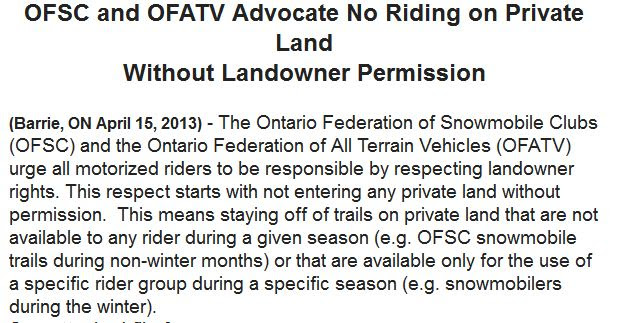 stay off snowmobile trails in off season
