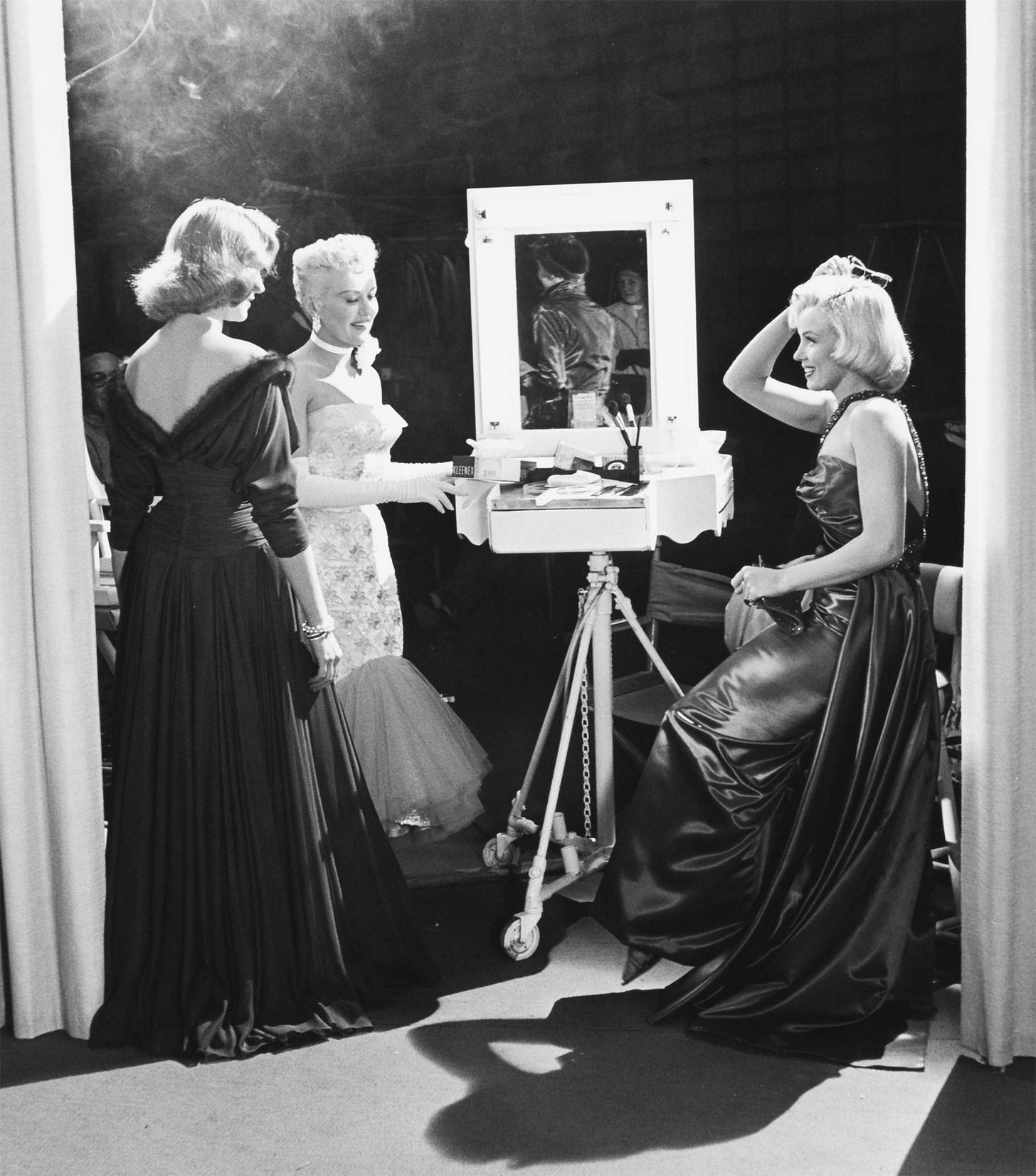 Lauren Bacall, Betty Grable and Marilyn Monroe on the set of the 1953 movie How to Marry a Millionaire