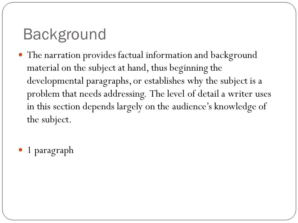 how to write a research paper background