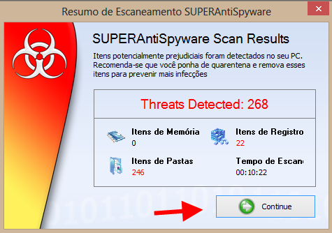 resumo do escaneamento do superantispyware