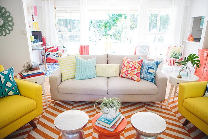 orange striped rug