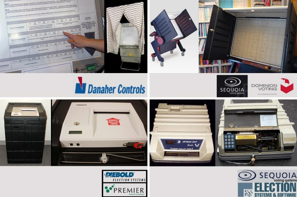 Voting machines: Danaher Shouptronic 1242, Sequoia (Dominion) AVC Advantage, Premier/Diebold (Dominion) AccuVote OS and Optech IIIP-Eagle Photo credit: Verified Voting