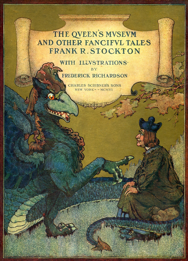 "Frederick Richardson - Cover illustration for ""The Queen's MuseumMuseum and Other Fanciful Tales"" by Frank R. Stockton, 1906"