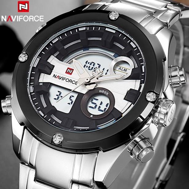 77289696f07 Comprar Relógios Homens Marca Naviforce Militar Aço Cheio Relógio De  Quartzo Dos LEVOU Esportes Pulso Masculino Relogio Baratas Online Preço