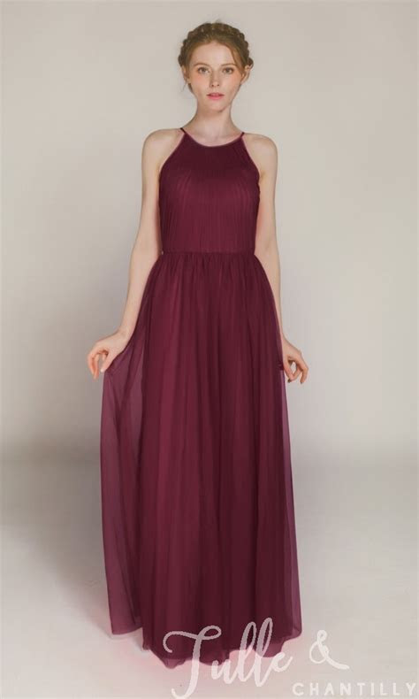 Sleeveless Tulle Long Bridesmaid Dress with Halter Neck