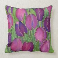 Purple Tulips Design Throw Pillow throwpillow
