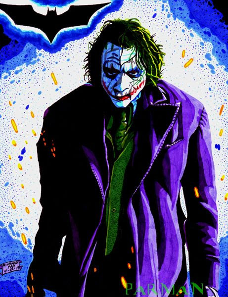 My drawing of the Joker from THE DARK KNIGHT.