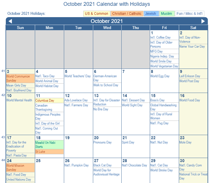 Ndca Calendar 2022.2021 October Calendar With Holidays 2021 Calendar