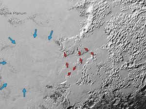 Setas mostram fluxo de gelos, provavelmente de nitrogênio, em Plutão (Foto: NASA/JHUAPL/SwRI)