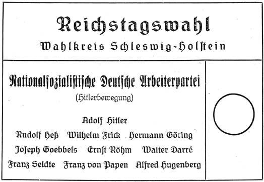 Stimmzettel zur Reichstagswahl am 12. November 1933