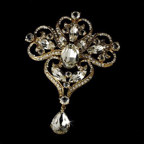 gold majestic dynasty bridal rhinestone brooch pin brooch