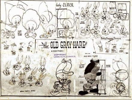 Old Gray Hare Elmer Fudd Model Sheet drawn by Tom McKimson