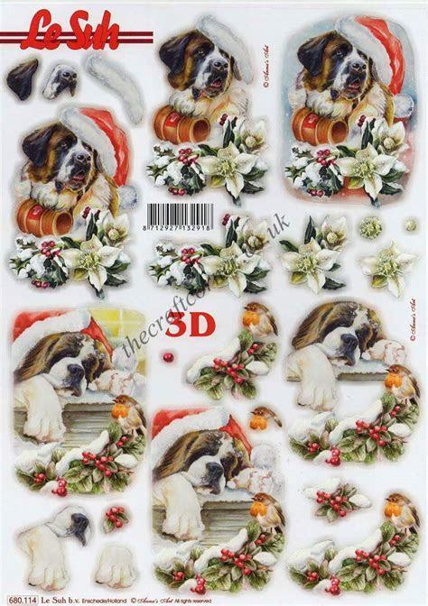 St Bernard Dogs At Christmas Die Cut 3d Decoupage Sheet