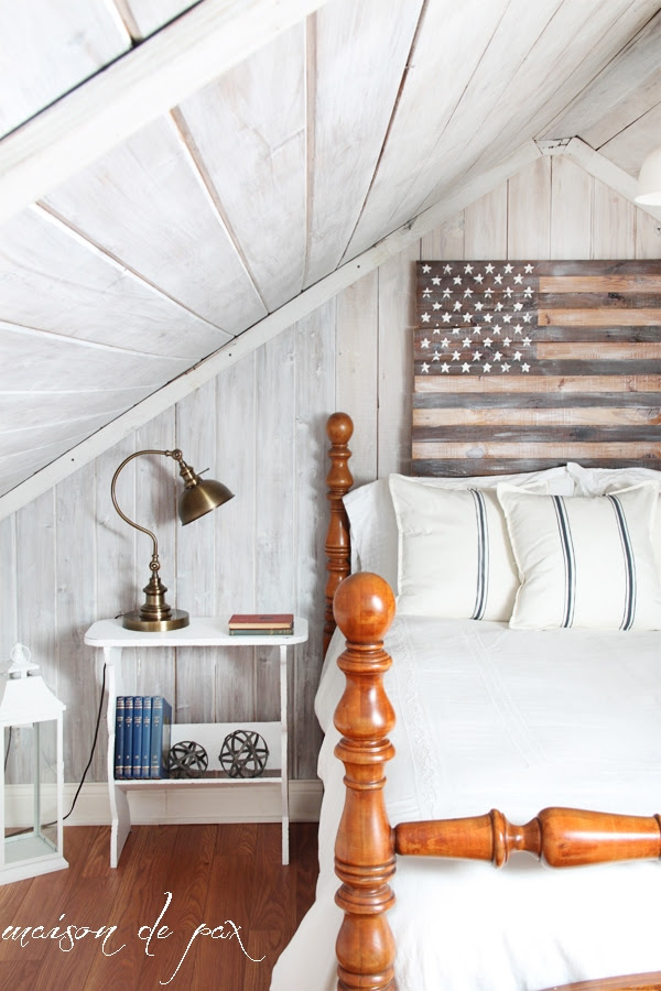 DIY planked American flag at maisondepax.com #tutorial #patriotic #july4 #decor #whitewashed