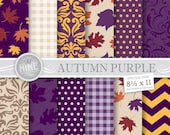 "AUTUMN PURPLE Digital Paper 8 1/2"" x 11"" Fall Pattern Prints, Instant Download, Fall Leaves Backgrounds Print Chevron Damask Pattern"